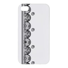 Lace White Dots White With Black Apple Iphone 4/4s Premium Hardshell Case by strawberrymilk