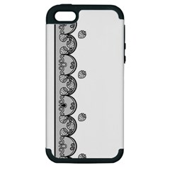 Lace White Dots White With Black Apple Iphone 5 Hardshell Case (pc+silicone) by strawberrymilk