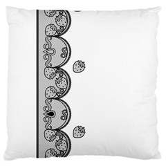 Lace White Dots White With Black Large Cushion Case (one Side) by strawberrymilk