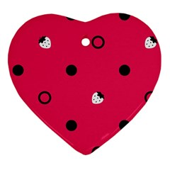 Strawberry Dots Black With Pink Heart Ornament (two Sides) by strawberrymilk