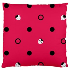 Strawberry Dots Black With Pink Large Cushion Case (one Side) by strawberrymilk