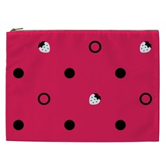 Strawberry Dots Black With Pink Cosmetic Bag (xxl) by strawberrymilk