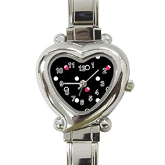 Strawberry Dots White With Black Heart Italian Charm Watch by strawberrymilk