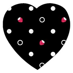 Strawberry Dots White With Black Jigsaw Puzzle (heart) by strawberrymilk