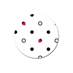 Strawberry Circles Black Large Sticker Magnet (round) by strawberrymilk