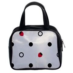Strawberry Circles Black Twin Sided Satched Handbag by strawberrymilk