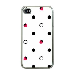 Strawberry Circles Black Apple Iphone 4 Case (clear) by strawberrymilk