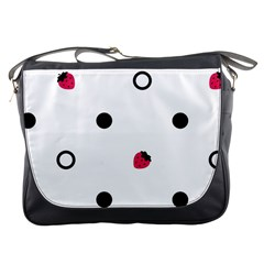 Strawberry Circles Black Messenger Bag by strawberrymilk