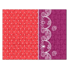 Lace Dots With Violet Rose Jigsaw Puzzle (rectangular)