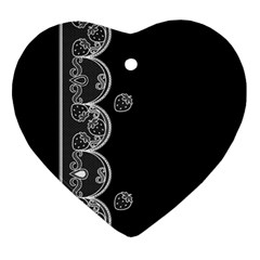 Strawberry Lace White With Black Heart Ornament (two Sides) by strawberrymilk