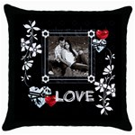 LOVE Throw Pillow Case - Throw Pillow Case (Black)