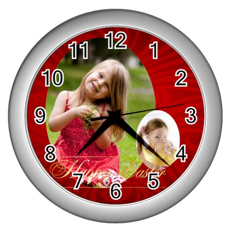 Easter By Easter   Wall Clock (silver)   3qfd4g57n1u5   Www Artscow Com Front