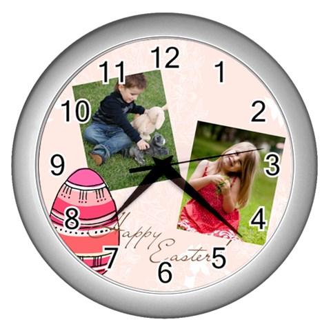 Easter By Easter   Wall Clock (silver)   Pij49fg8pjaj   Www Artscow Com Front