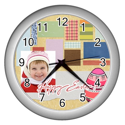 Easter By Easter   Wall Clock (silver)   Eayi607t0hpt   Www Artscow Com Front