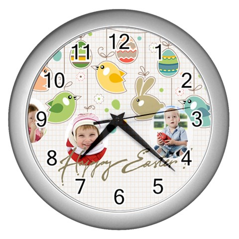 Easter By Easter   Wall Clock (silver)   T3xku6bgh8jv   Www Artscow Com Front