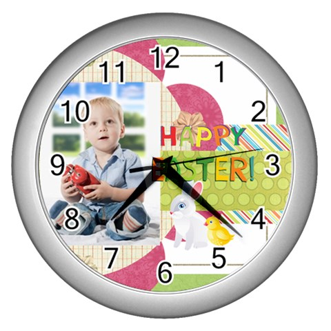 Easter By Easter   Wall Clock (silver)   6fh7t2vip8yk   Www Artscow Com Front