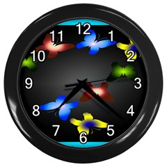 Butterfly Trail Black Wall Clock by displaydezign