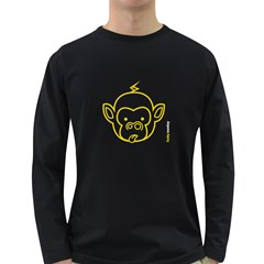 FunkyMonkey Yellow Outline Long Sleeve Dark T-Shirt
