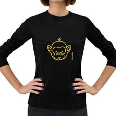 Funkymonkey Yellow Outline Women s Long Sleeve Dark T Shirt by funkymonkey