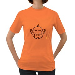 Monkey Black Outline Women s Dark T Shirt by funkymonkey