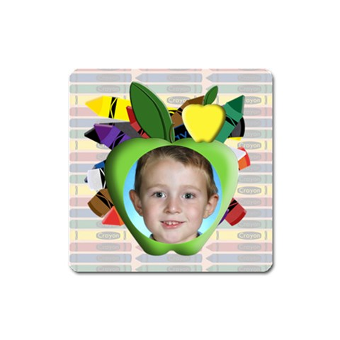 Crayon Apple Frame Magnet Square By Chere s Creations   Magnet (square)   B9ey3unk8a2a   Www Artscow Com Front