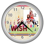 happy birthday - Wall Clock (Silver)