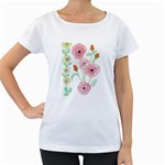 Pansies Poppies Maternity White T-Shirt