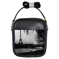 Vintage France Paris Eiffel Tour & Seine At Dusk 1970 Kids  Sling Bag by Vintagephotos