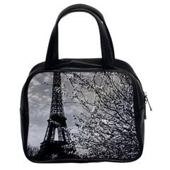 Vintage France Paris Eiffel Tour 1970 Twin Sided Satchel Handbag by Vintagephotos