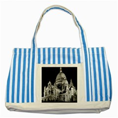 Vintage France Paris The Sacre Coeur Basilica 1970 Blue Striped Tote Bag by Vintagephotos