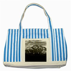 Vintage Usa Alaska Beautiful Mt Mckinley 1970 Blue Striped Tote Bag by Vintagephotos