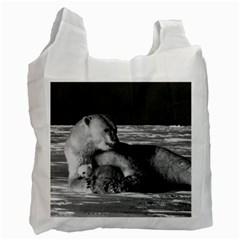 Vintage Usa Alaska Mother Polar Bear 1970 Single Sided Reusable Shopping Bag by Vintagephotos