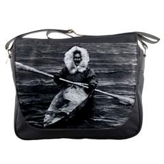 Vintage Usa Alaska Eskimo And His Kayak 1970 Messenger Bag by Vintagephotos