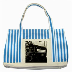 Vintage Uk England London Double Decker Bus 1970 Blue Striped Tote Bag by Vintagephotos