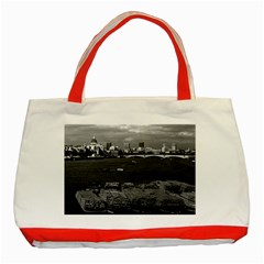 Vintage Uk England River Thames London Skyline City Red Tote Bag by Vintagephotos