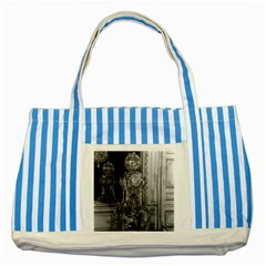 Vintage France Palace Of Versailles Astronomical Clock Blue Striped Tote Bag by Vintagephotos