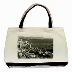 Vintage Principality of Monaco  the port of Monte Carlo Black Tote Bag by Vintagephotos
