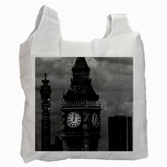 Vintage Uk England London The Post Office Tower Big Ben Twin Sided Reusable Shopping Bag by Vintagephotos