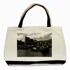 Vintage China Hong Kong Houseboats River 1970 Twin Sided Black Tote Bag by Vintagephotos