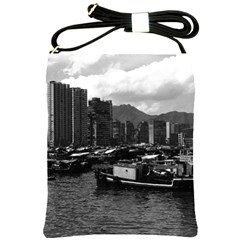 Vintage China Hong Kong Houseboats River 1970 Cross Shoulder Sling Bag by Vintagephotos