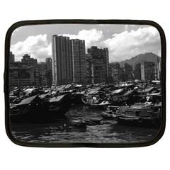Vintage China Hong Kong Houseboats River 1970 12  Netbook Case by Vintagephotos