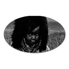 Vintage Usa Alaska Eskimo Boy 1970 Large Sticker Magnet (oval) by Vintagephotos