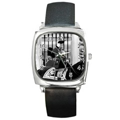 Vintage Uk England  Queen Elizabeth 2 Buckingham Palace Black Leather Watch (square) by Vintagephotos