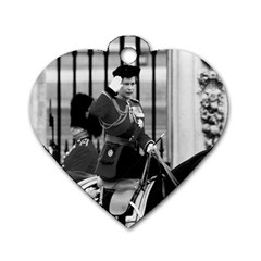Vintage Uk England  Queen Elizabeth 2 Buckingham Palace Twin Sided Dog Tag (heart) by Vintagephotos