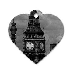 Vintage Uk England London The Post Office Tower Big Ben Single Sided Dog Tag (heart) by Vintagephotos