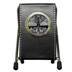 Vintage France Paris Fontain Chaillot Tour Eiffel 1970 Stationery Holder Clock by Vintagephotos