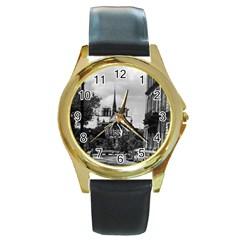 Vintage France Paris Notre Dame Saint Louis Island 1970 Black Leather Gold Rim Watch (round) by Vintagephotos
