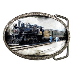 The Steam Train Belt Buckle (oval)