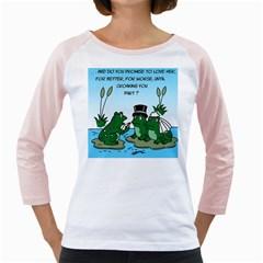 Frogswedding White Long Sleeve Raglan Womens  T Shirt