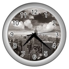 New York, Usa Silver Wall Clock by artposters